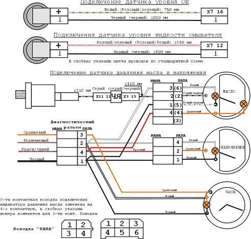 Схема подключения панели приборов ваз-2114.